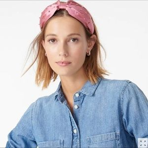 J.Crew Wide-Knot Headband With Crystals Pink